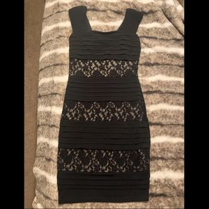 Black/nude lace overlay bodycon dress